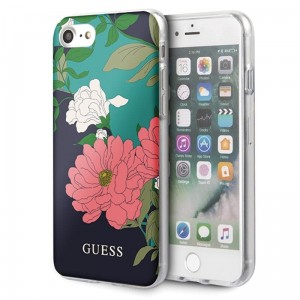 Guess Flower Shiny Collection N1 - Etui iPhone SE 2020 / 8 / 7 (Black)