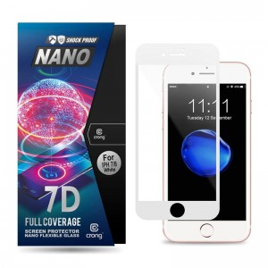 Crong 7D Nano Flexible Glass - Szkło hybrydowe 9H na cały ekran iPhone SE 2020 / 8 / 7 / 6s / 6 (White)