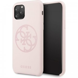 Guess Silicone 4G Tone to Tone - Etui iPhone 11 Pro Max (Light Pink)