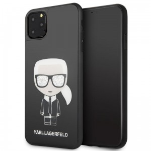 Karl Lagerfeld Double Layer Glitter Tempered Glass - Etui iPhone 11 Pro Max ze szklanym tyłem (czarny)
