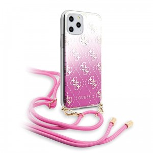Guess 4G Gradient Hard Case - Etui z odpinaną smyczką iPhone 11 Pro (Pink)