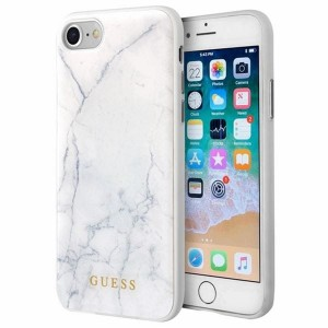 Guess Marble Tempered Glass Hardcase - Etui iPhone 8 / 7 (biały)