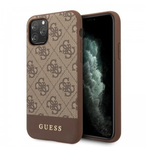 Guess 4G Bottom Stripe Collection - Etui iPhone 11 Pro (brązowy)