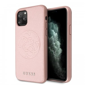Guess Saffiano 4G Circle Logo - Etui iPhone 11 Pro (różowy)