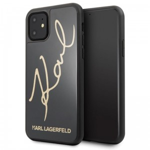 Karl Lagerfeld Double Layers Glitter Signature Case -  Etui iPhone 11 (Black)