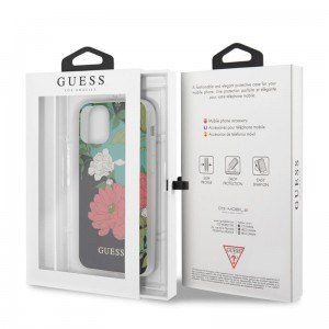 Guess Flower Shiny Collection N1 - Etui iPhone 11 Pro Max (Black)