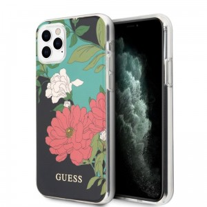 Guess Flower Shiny Collection N1 - Etui iPhone 11 Pro (Black)