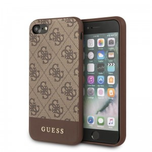 Guess 4G Bottom Stripe Collection - Etui iPhone SE 2020 / 8 / 7 (brązowy)