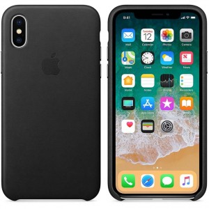 Apple Leather Case etui do iPhone X (czarny)