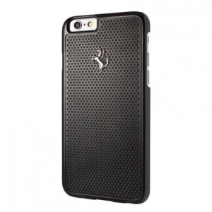Ferrari Hardcase Perforated Aluminium - Etui aluminiowe iPhone 6/6s (czarny)